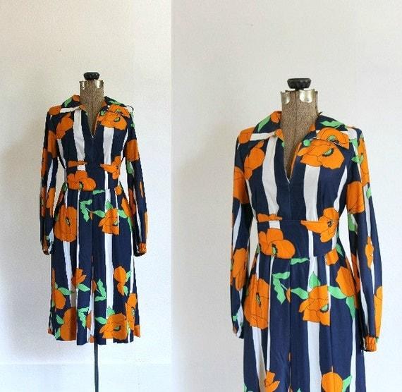 vintage 1960s floral dress 60s kimono style long sleeve color block floral wrap dress / orange blossom
