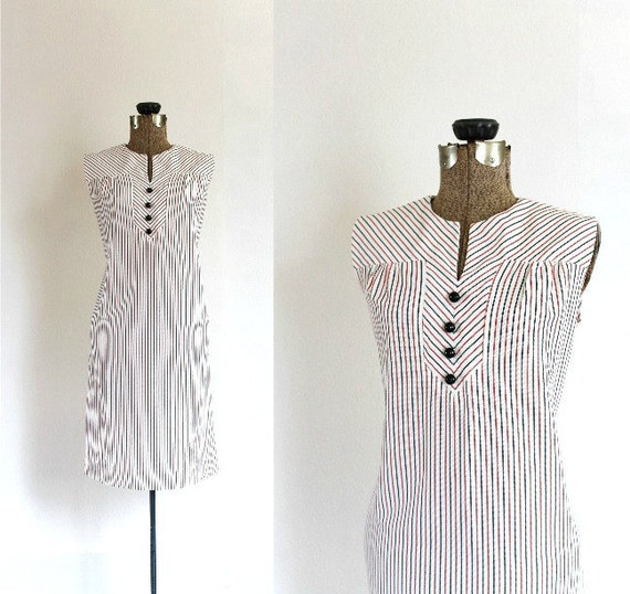 vintage 1960s mini dress ll vintage 60s nautical mod mini shift dress ll fine day for sailing