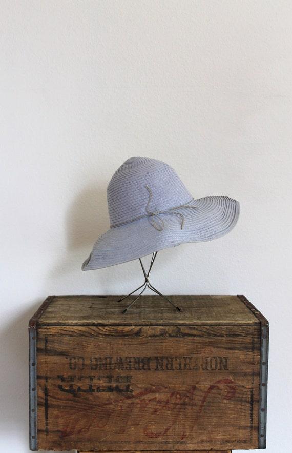 floppy hat ll vintage 1970s wide brim light blue floppy gardener hat