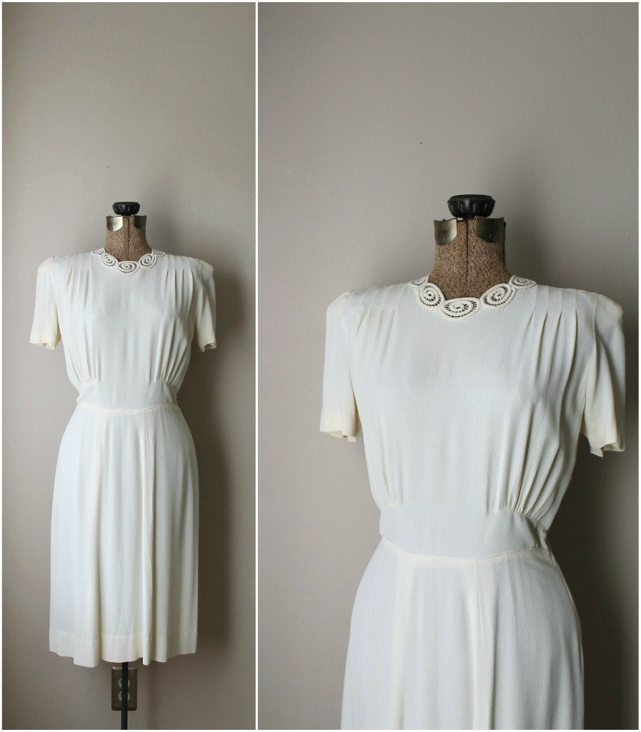 Vintage 1930s Wedding Dress 30s White Rayon Swing Dress And