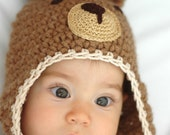 Newborn Brown Teddy Bear  Hat Available size up to 3 Months