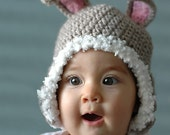 Easter Rabbit Bunny Hat  for  6 to 12 Months and 12 to 24 Months Babies Photo prop Photo Shooting