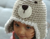 Puffy Teddy Bear Earflap Hat  for 6 to 12 Months  and 12 to 24 Months Babies