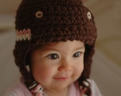 Newborn Pink And white Stripe Brown Pilot Hat Available size up to 3 Months