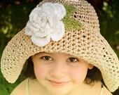 Straw Sun Summer Hat For children with Big White Flower