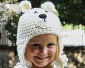 White Floral Teddy Bear Baby Girl Winter Hat  for 6 to 12 Months and 12 to 24 Months Babies