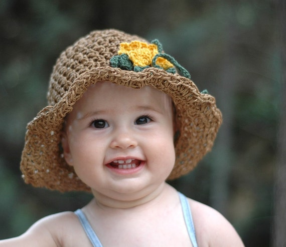 RESERVED LISTING Infant Summer Sun Hat  With Yellow Flowers