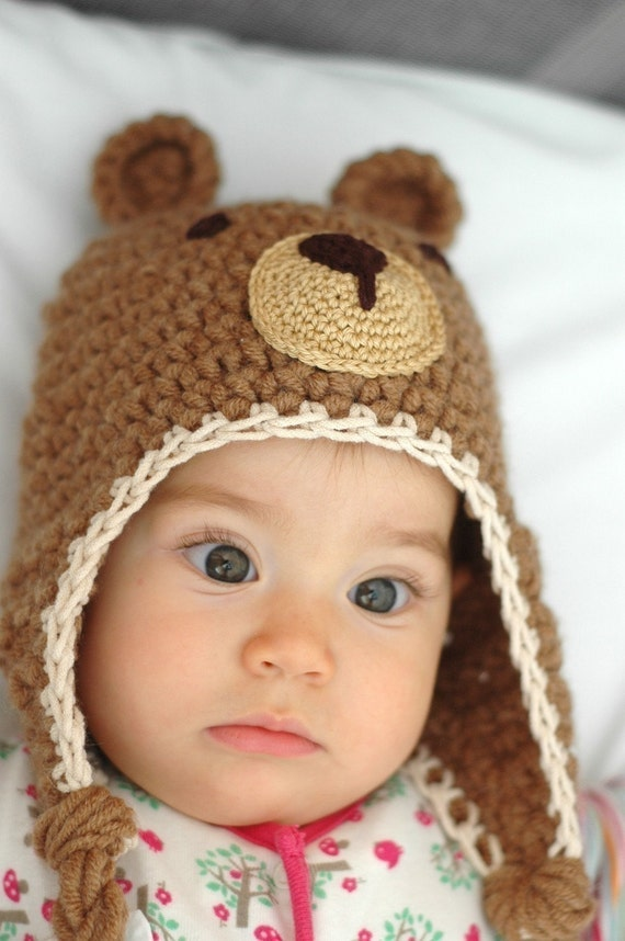 Free Crochet Baby Acorn Hat Pattern : Teddy Bear Hat 6 to 12 Months and 12 to 24 Months