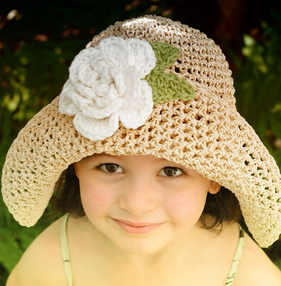 Straw Sun Summer Hat For children with Big White Flower
