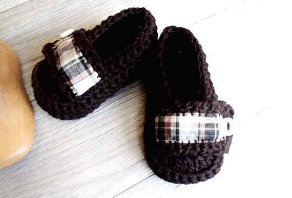 Baby Boy Brown with Plaid fabric  Baby Booties Loafer Style Rustic