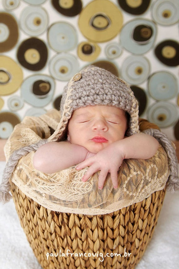 Newborn Baby Pilot Hat Photo prop or Photo shooting Available size up to 0-3M