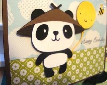 Happy Birthday panda holding balloon greeting card