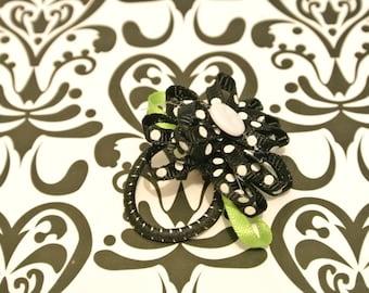 Black / white polka dot flower hair tie