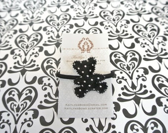 Black bear with white polka dots hair tie