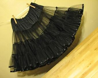 black crinoline with satin trim and flowers - 50s inspired