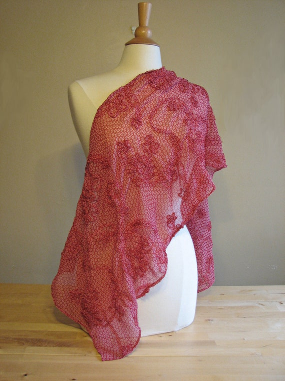 large red sheer scarf with ribbon-style applique - 80s inspired