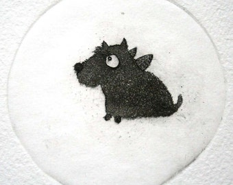 Etching / limited edition original etching (printmaking / graphic art) / original print / original art / dog print - 'Little Vaclov'