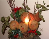 Primitive Grungy Frosty Snowman Hat Lamp - MADE TO ORDER