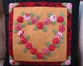 Yo-Yo Rose Heart Pillow