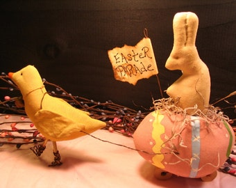 Primitive Decor, Primitive Easter,  Easter Parade Bunny, Yellow Chick,  Easter Egg, Spring Decor,  Easter Decorations, MADE TO ORDER