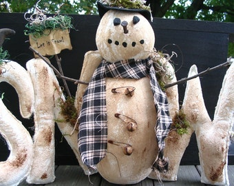 Winter Decor, Winter Snow, Winter Centerpiece, Primitive Decor, Snowman Centerpiece, Snowman Decor, Black Crow, Let it Snow, MADE TO ORDER