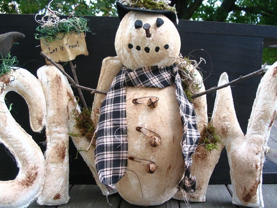 Winter SNOW Snowman Centerpiece Display