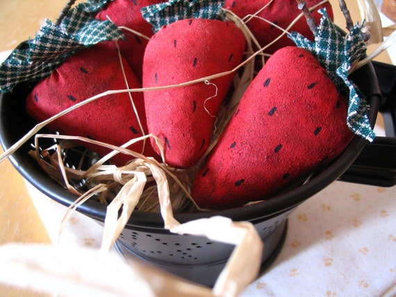 Primitive Red Strawberries in a Colander