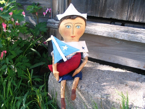 Primitive Grungy Boy Doll with Sailboat