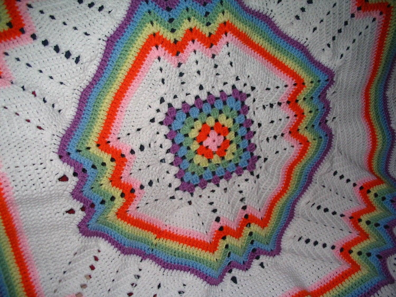 Rainbow Crochet Baby Afghan By Farmersattic On Etsy