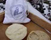 Calendula Beeswax and Coffee Soap-minis in an Owl Naturals bag-cold process soap, handmade soap, natural soap