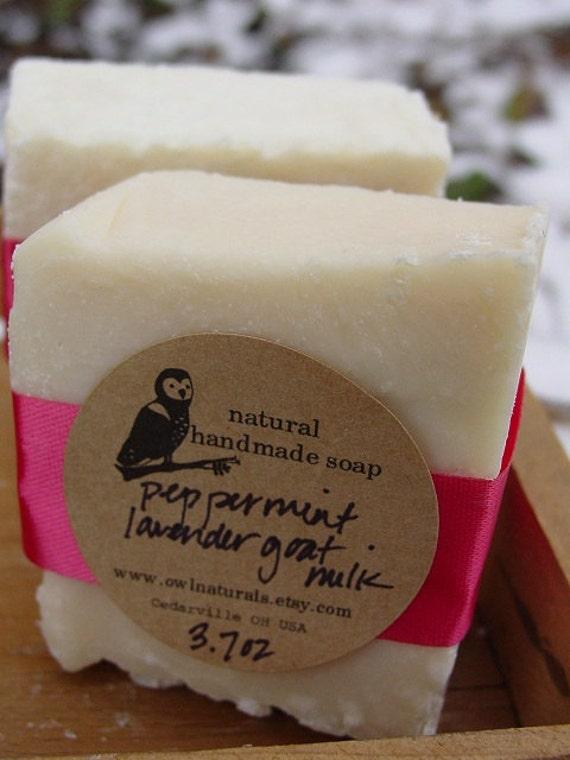 Lavender Peppermint Goat Milk Salt Soap bar-Owl Naturals Cold Process Soap
