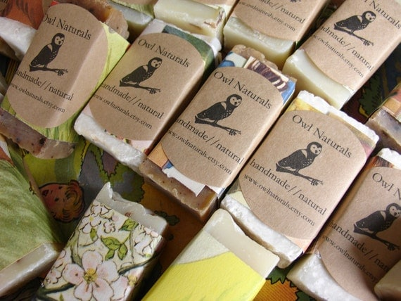 Soap Favors- wrapped in vintage childrens book pages-quantity of 75-custom labels-baby shower favor, wedding favor, birthday party favor