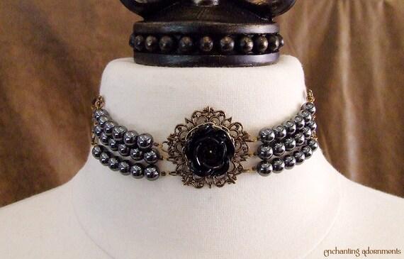Gothic Rose Noir Gemstone Beaded Bridal Choker