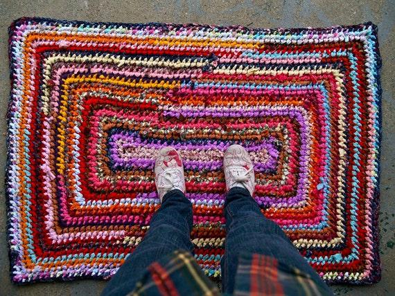 Recycled Rainbow Rag Rug