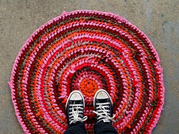 Pink & Orange Recycled Rag Rug