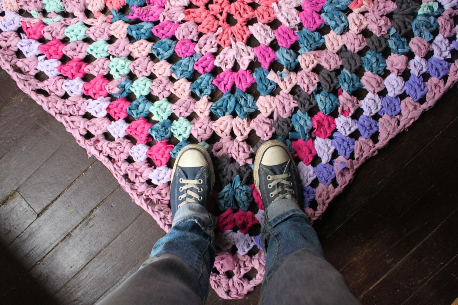 Crochet Granny Square Rug Patterns : Granny Square Rag Rug