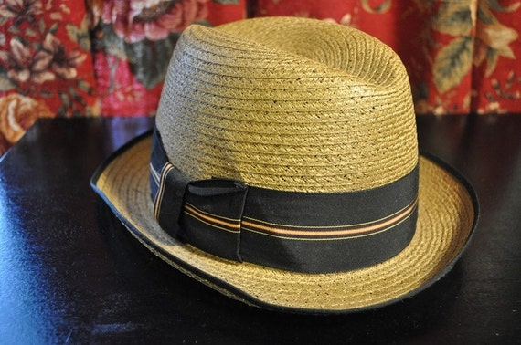 Vintage 40s 50s Daddy O straw Dunlap Hat Nagano A genuine imported braid Rockabilly Swing Rat Pack / VLV / small