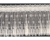 Crystal Pleated Ivory Lace with Beading 1 Yard