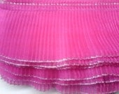 Organza Fabric Sewing Trim Fuchsia Crystal Pleated For Couture, Costumes, 2 yards