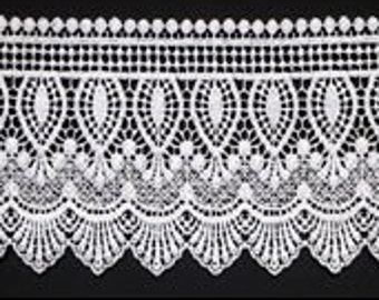 Venice lace in white for bridal, couture, linens, towels, table cloths and home decor  10 yards