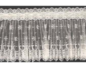 Crystal Pleated Ivory Lace with Beading for apparel, couture, or decor items  12 Yards wholesale