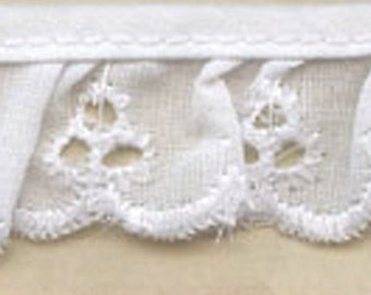 "Ruffled Eyelet Fabric Sewing Lace trim white 1"" for baby clothes, blankets and accessories 50 yards wholesale"