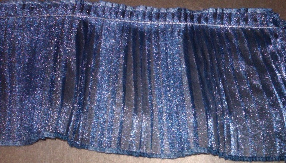 Navy crystal pleated sparkle organza fabric sewing trim for prom couture, costumes, cake decorating 2 YARDS