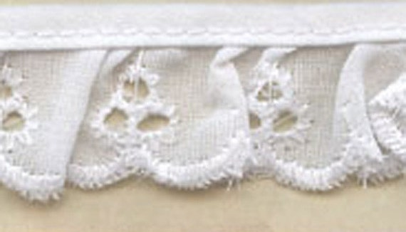 "Ruffled Eyelet Fabric Sewing Lace trim white 1"" for baby clothes, blankets and accessories 3 yards"