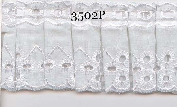 Box pleated white eyelet lace fabric sewing trim for baby, garments, couture, linen 2 yard