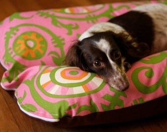 SALE Bunbed, Dachshund Dog Bed, Small Dog Bed, Hot Dog Bed, Burrow Bed, Bun Bed - Pink Green Vines TROPICAL Hothouse