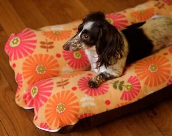 Dog Bed, Dachshund Dog Bed, BUNBED, Mod Orange Flowers, Mid Century Dog Bed, Orange Dog Bed, Burrow Bed