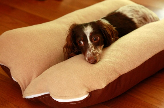 BUNBED, Dachshund Dog Bed, Burrow Bed, Cream Beige Brown Plush Fleece Dog Bed, Small Dog Bed, Dachshund Bed