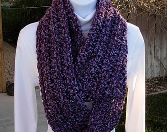 INFINITY SCARF Loop Cowl, Light & Dark Purple Multicolor, Extra Soft Thick Winter Crochet Knit Circle, Neck Warmer..Ready to Ship in 2 Days