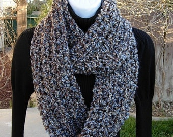 INFINITY SCARF Loop Cowl Dark Brown, Tan, Blue Tweed Extra Soft Acrylic Thick Crochet Knit Winter Endless Circle..Ready to Ship in 2 Days
